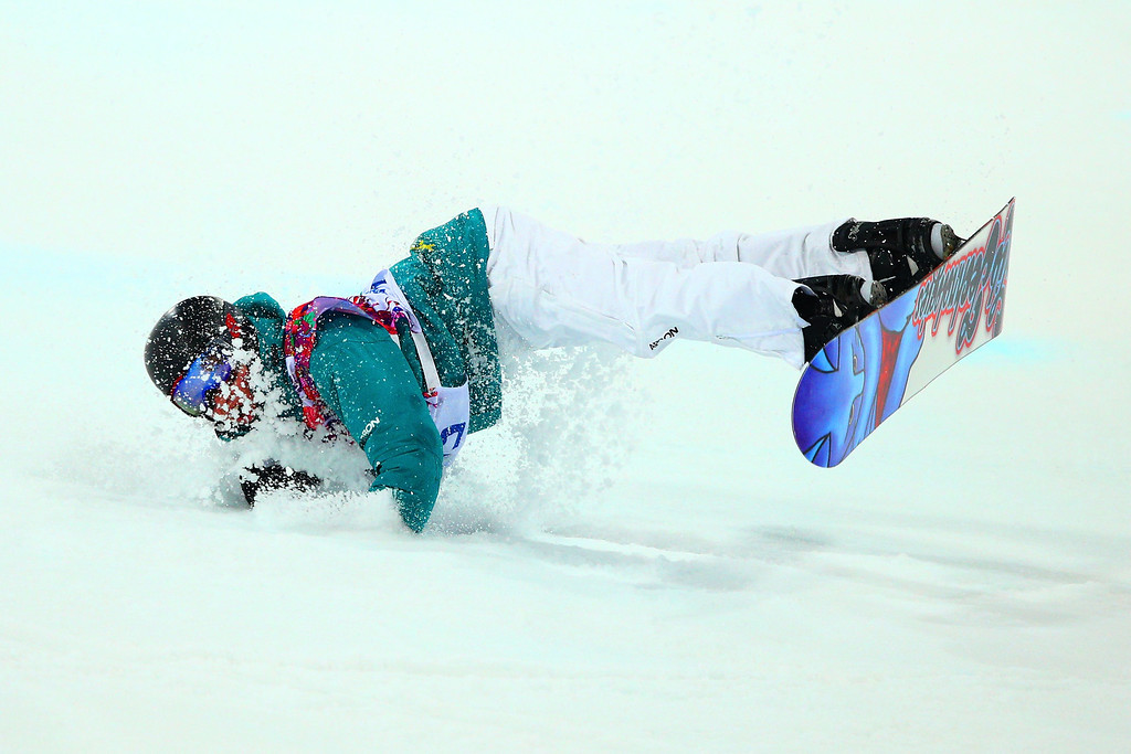 . Kent Callister of Australia crashes out in the Snowboard Men\'s Halfpipe Finals on day four of the Sochi 2014 Winter Olympics at Rosa Khutor Extreme Park on February 11, 2014 in Sochi, Russia.  (Photo by Cameron Spencer/Getty Images)