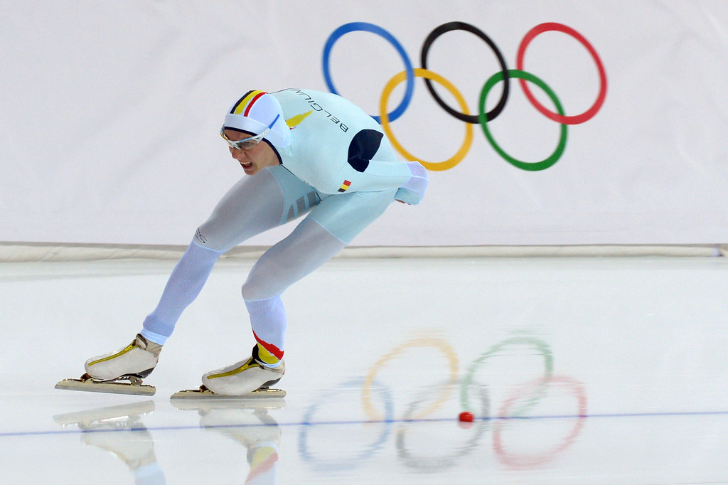 . Belgium\'s Bart Swings competes in the Men\'s Speed Skating 1500 m at the Adler Arena during the Sochi Winter Olympics on February 15, 2014.        DAMIEN MEYER/AFP/Getty Images