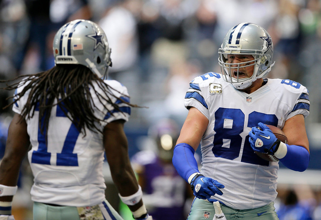 . Dallas Cowboys\' Dwayne Harris (17) and Jason Witten celebrate a touchdown by Witten after grabbing a pass from quarterback Tony Romo in the second half of an NFL football game against the Minnesota Vikings, Sunday, Nov. 3, 2013, in Arlington, Texas. (AP Photo/Tim Sharp)