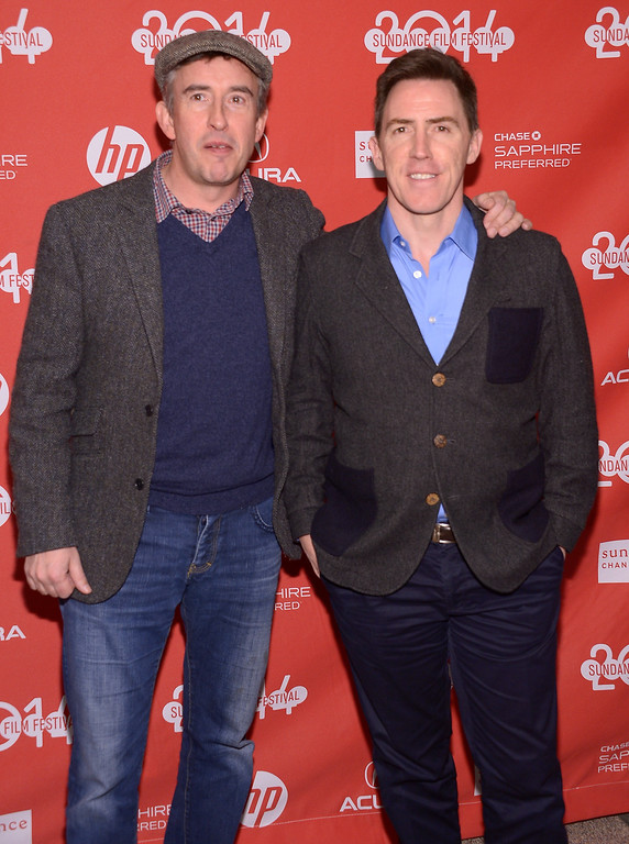 ". Steve Coogan and Rob Brydon attend the premiere of ""The Trip To Italy\"" at the Eccles Center Theatre during the 2014 Sundance Film Festival on January 20, 2014 in Park City, Utah.  (Photo by Michael Loccisano/Getty Images for Sundance Film Festival)"