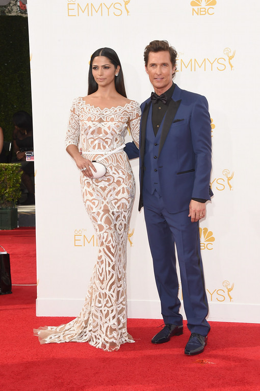 . Actor Matthew McConaughey (R) and model Camila Alves attend the 66th Annual Primetime Emmy Awards held at Nokia Theatre L.A. Live on August 25, 2014 in Los Angeles, California.  (Photo by Jason Merritt/Getty Images)