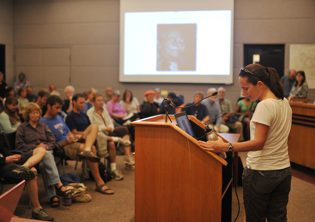 . BOULDER, CO - September 18 : Mayor Tara Schoedinger speaks during a meeting of Jamestown evacuees at the Boulder County Commissioners building in Boulder, Colorado. September 18, 2013.  (Photo by Hyoung Chang/The Denver Post)