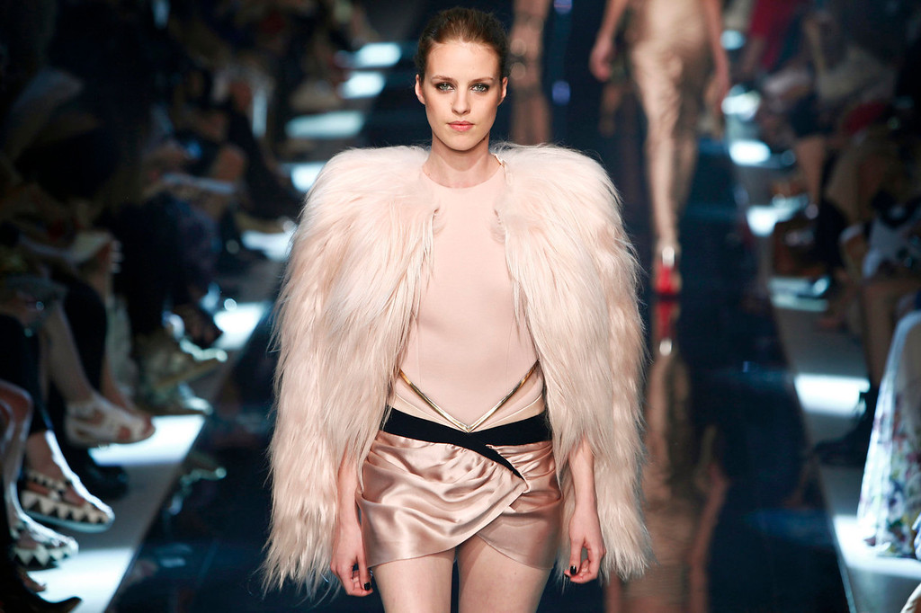 . A model wears a creation as part of Alexandre Vauthier\'s Haute Couture Fall-Winter 2013-2014 collection, presented Tuesday, July 2, 2013 in Paris.  (AP Photo/Thibault Camus)