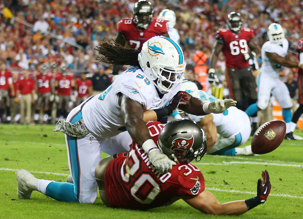 . Dannell Ellerbe #59 of the Miami Dolphins breaks up a pass intended for  Brian Leonard #30 of the Tampa Bay Buccaneers in the first quarter at Raymond James Stadium on November 11, 2013 in Tampa, Florida.  (Photo by Mike Ehrmann/Getty Images)