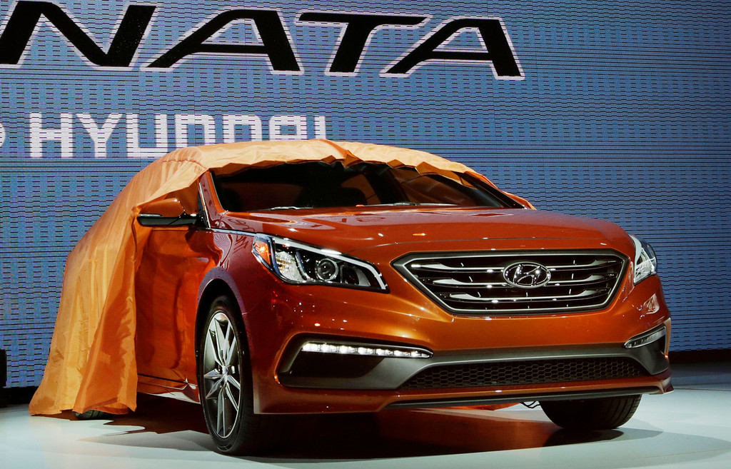 . The 2015 Hyundai Sonata is introduced at the New York International Auto Show, Wednesday, April 16, 2014, in New York. (AP Photo/Mark Lennihan)