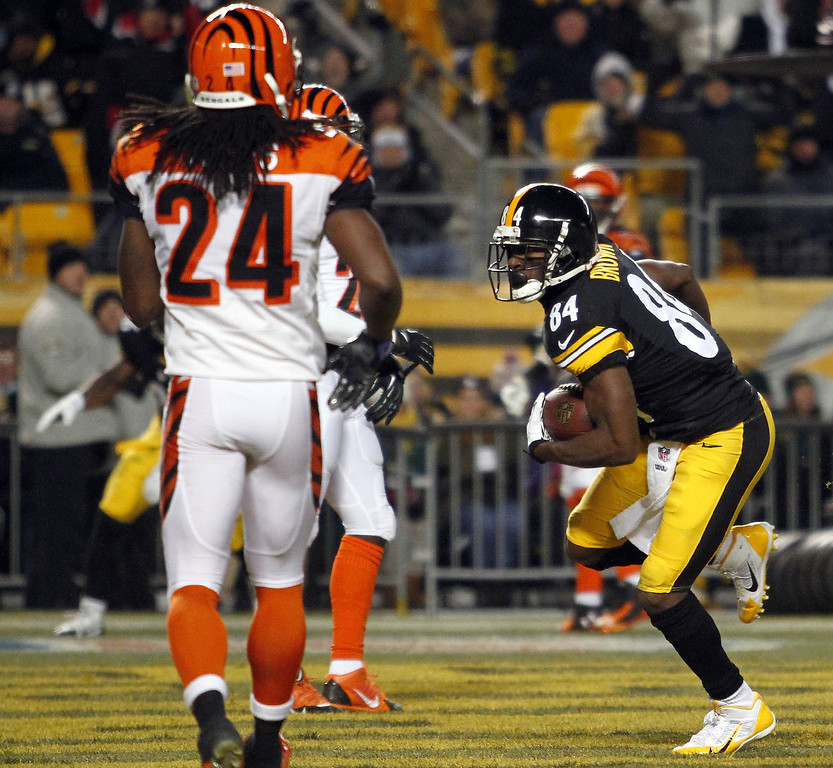 . Antonio Brown #84 of the Pittsburgh Steelers catches a 12 yard touchdown pass against the Cincinnati Bengals during the game on December 15, 2013 at Heinz Field in Pittsburgh, Pennsylvania.  (Photo by Justin K. Aller/Getty Images)