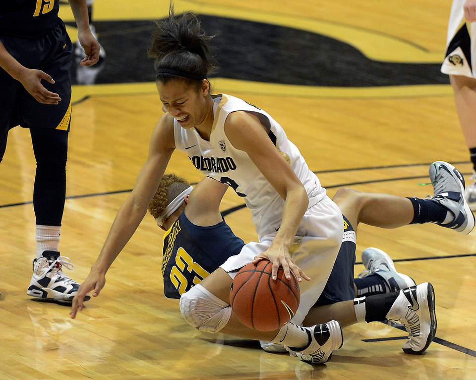 . Colorado Buffaloes forward Arielle Roberson (32) falls to the court after colliding with California Golden Bears guard Layshia Clarendon (23) during the second half Sunday, January 6, 2013 at Coors Events Center. John Leyba, The Denver Post