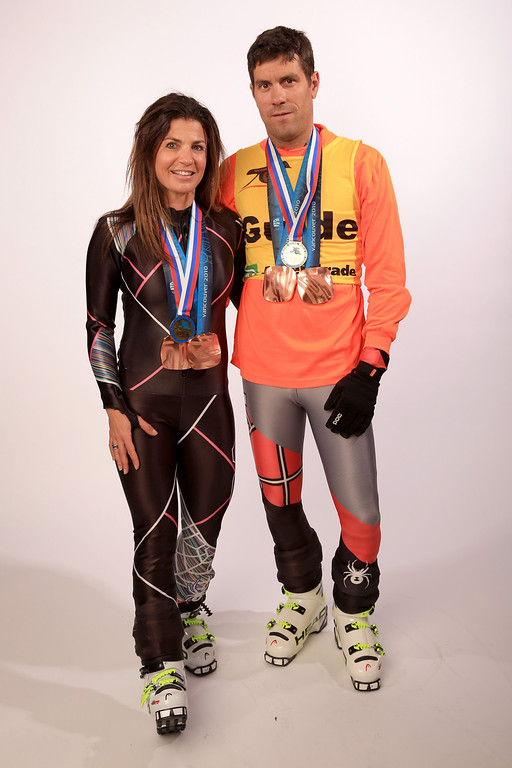 . Para-Alpine Skier Danelle Umstead (L) and her guide, husband Rob Umstead pose for a portrait during the USOC Media Summit ahead of the Sochi 2014 Winter Olympics on October 1, 2013 in Park City, Utah.  (Photo by Doug Pensinger/Getty Images)
