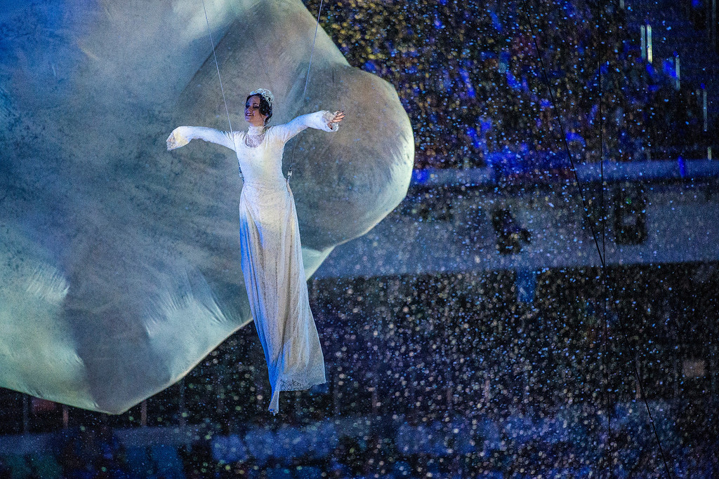 . Dancers perform during the Closing Ceremony of the 2014 Sochi Olympics outside of Fisht Olympic StadiumSunday February 23, 2014. 