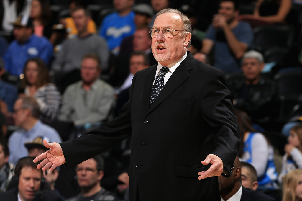 . DENVER, CO - NOVEMBER 15:  Head coach Rick Adelman of the Minnesota Timberwolves leads his team against the Denver Nuggets at Pepsi Center on November 15, 2013 in Denver, Colorado. (Photo by Doug Pensinger/Getty Images)