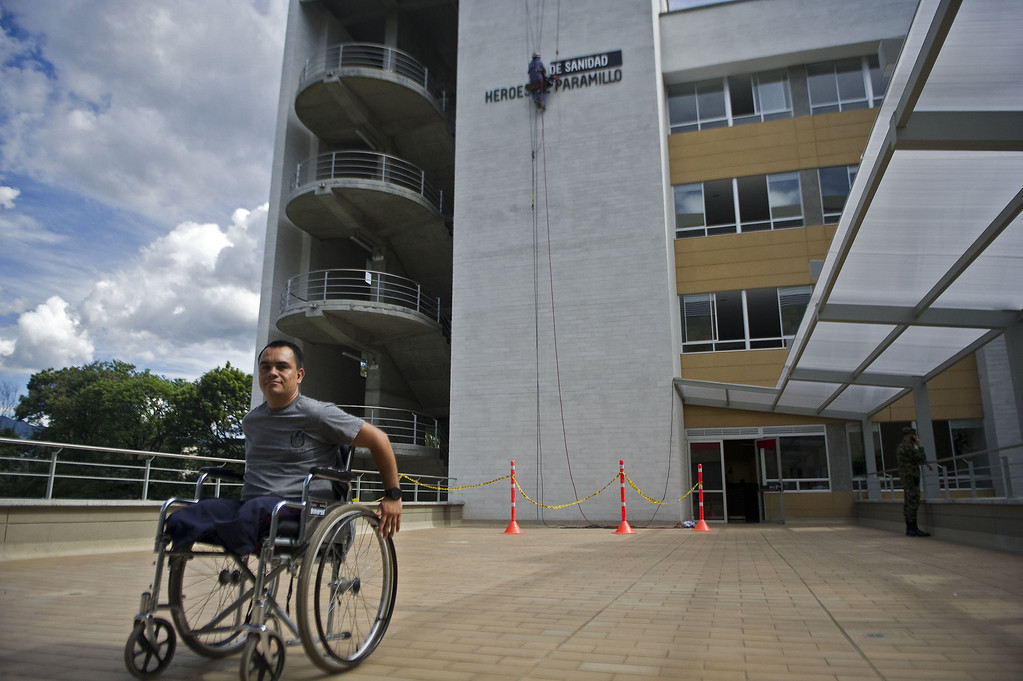 . Colombian soldier William Loaiza, 32, victim of a land mine explosion five months ago, poses for a picture after his rehabilitation therapy session at the Heroes de Paramillo hospital.   RAUL ARBOLEDA/AFP/Getty Images