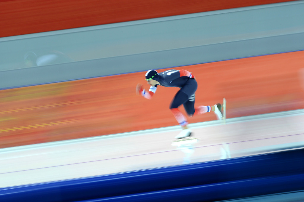 . France\'s Benjamin Mace competes in the Men\'s Speed Skating 1500 m at the Adler Arena during the Sochi Winter Olympics on February 15, 2014.           DAMIEN MEYER/AFP/Getty Images