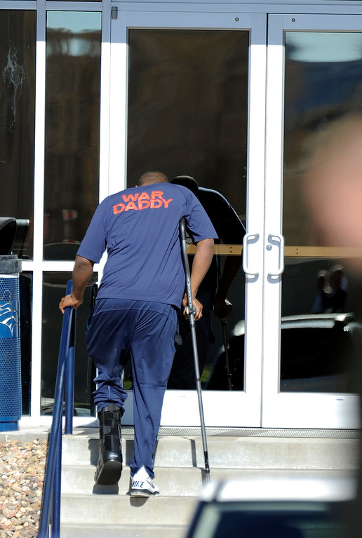. Denver Broncos tackle Ryan Clady (78) heads to the conditioning center during practice November 13, 2013 at Dove Valley (Photo by John Leyba/The Denver Post)