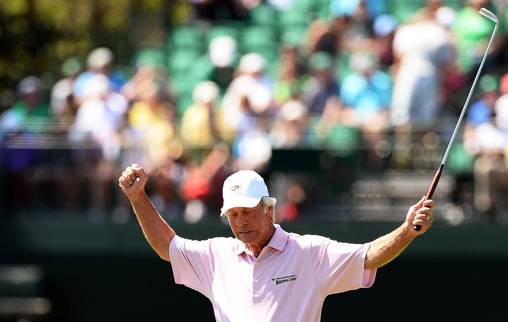 . Ben Crenshaw of the US reacts during the first round of the 78th Masters Golf Tournament at Augusta National Golf Club on April 10, 2014 in Augusta, Georgia. The 78th Masters got underway early April 10, with living legends Arnold Palmer, Jack Nicklaus and Gary Player hitting the first balls as honorary starters. AFP PHOTO/Emmanuel DUNAND/AFP/Getty Images