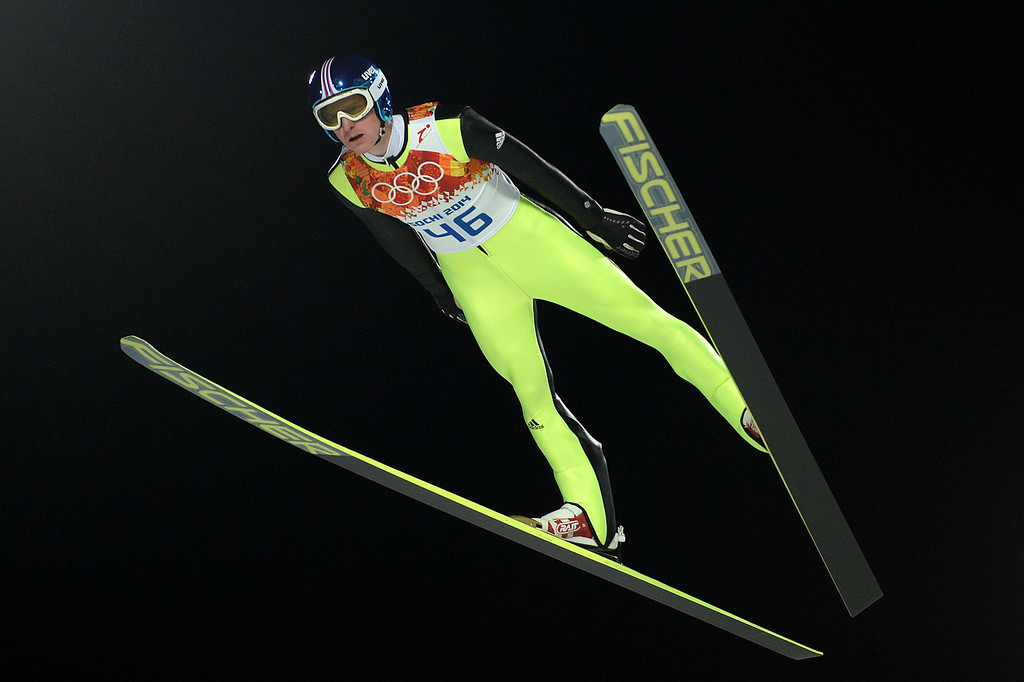 . Germany\'s Severin Freund competes in the Men\'s Ski Jumping Normal Hill Individual Final Round trial at the RusSki Gorki Jumping Center during the Sochi Winter Olympics on February 9, 2014 in Rosa Khutor.  PETER PARKS/AFP/Getty Images