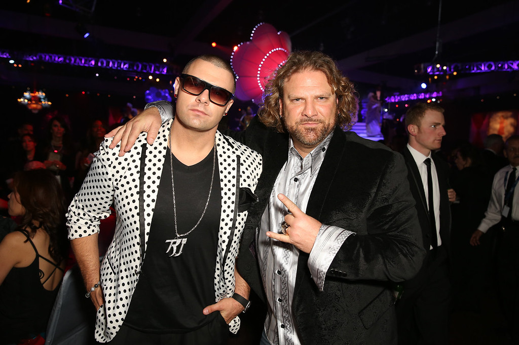 . Rapper Ricky J (L) and president of Silverstone Entertainment Mike Quinn attend the 2014 HYUNDAI / GRAMMY\'s celebration activation at Los Angeles Convention Center on January 26, 2014 in Los Angeles, California.  (Photo by Chelsea Lauren/Getty Images for Hyundai)