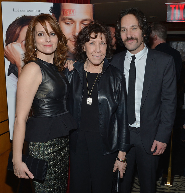 """. Actors (L-R) Tina Fey, Lily Tomlin, Paul Rudd attend \""""Admission\"""" New York Premiere After Party at Monkey Bar on March 5, 2013 in New York City.  (Photo by Mike Coppola/Getty Images)"""