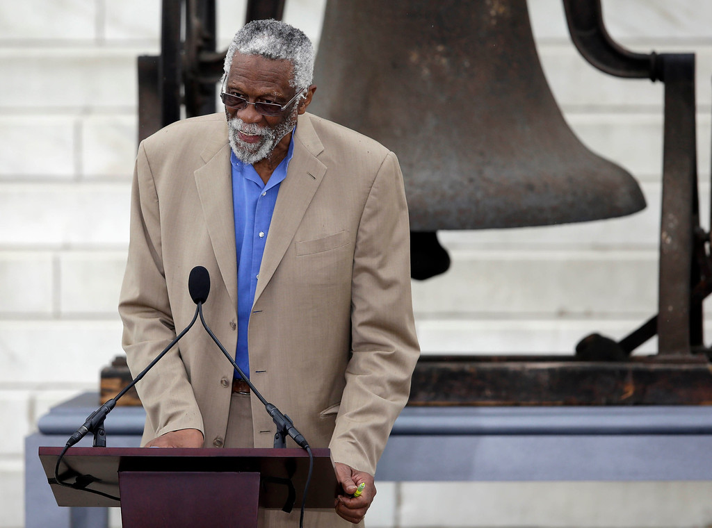". Former Boston Celtics basketball player Bill Russell speaks at the Let Freedom Ring ceremony at the Lincoln Memorial in Washington,Wednesday, Aug. 28, 2013, to commemorate the 50th anniversary of the 1963 March on Washington for Jobs and Freedom. It was 50 years ago today when Martin Luther King Jr. delivered his ""I Have a Dream\"" speech from the steps of the memorial. (AP Photo/Carolyn Kaster)"
