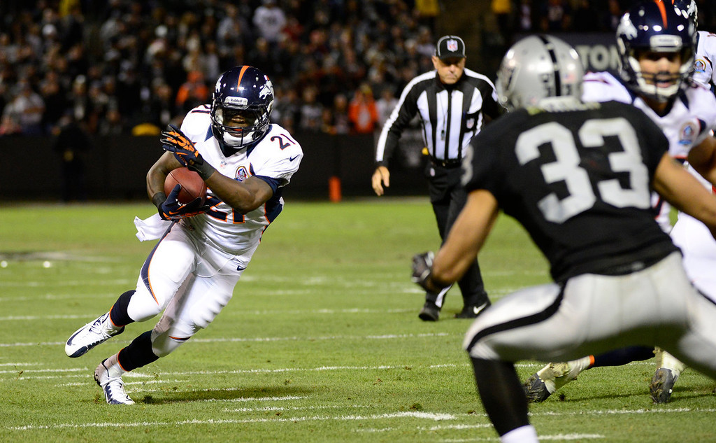 . Denver Broncos running back Ronnie Hillman #21 turns the corner for a few yards against the Oakland Raiders during the first quarter at the O.co Coliseum, in Oakland , CA December 06, 2012.      Joe Amon, The Denver Post