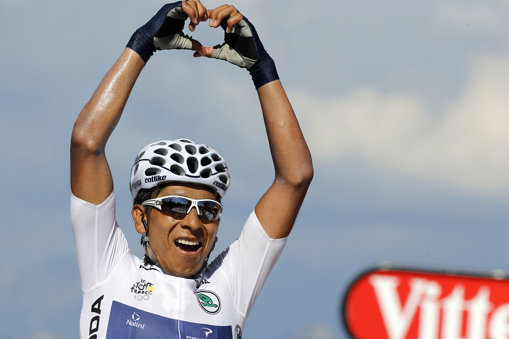 . Best young\'s white jersey Colombia\'s Nairo Quintana celebrates as he crosses the finish line at the end of the 125 km twentieth stage of the 100th edition of the Tour de France cycling race on July 20, 2013 between Annecy and Annecy-Semnoz, French Alps. PASCAL GUYOT/AFP/Getty Images