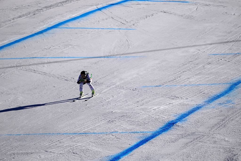 . Austria\'s Elisabeth Goergl tucks in the homestretch of her run.    (Photo by AAron Ontiveroz/The Denver Post)