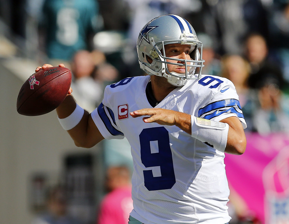 . Quarterback Tony Romo #9 of the Dallas Cowboys looks to pass against the Philadelphia Eagles in the first quarter during a game at Lincoln Financial Field on October 20, 2013 in Philadelphia, Pennsylvania. (Photo by Rich Schultz /Getty Images)