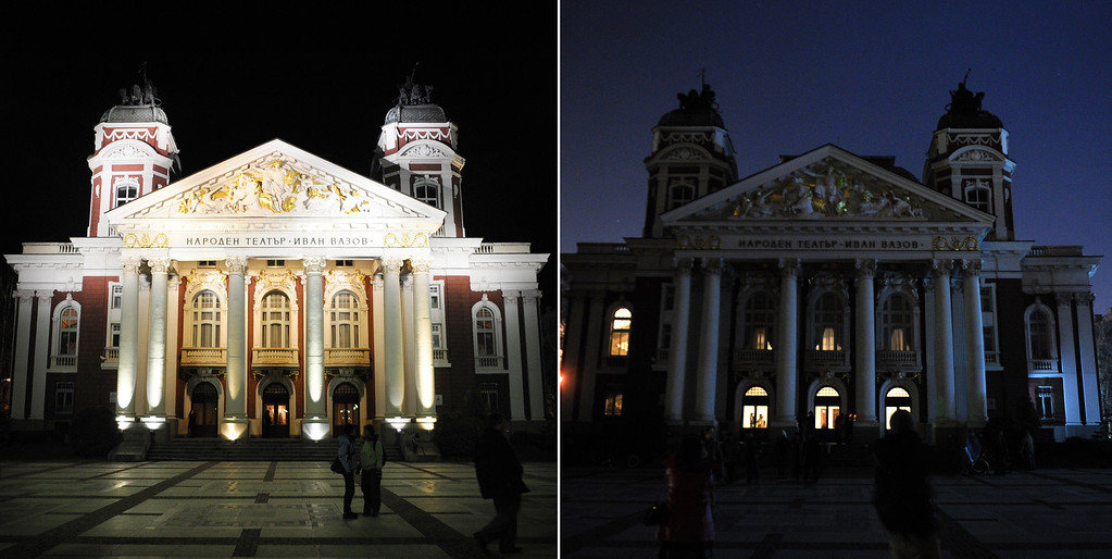 . This combo of pictures shows the Bulgarian National Theatre with the lights on (L) and with the lights off (R), as part of the Earth Hour in Sofia on March 23, 2013. Millions of people were expected to switch off their lights for Earth Hour on March 23 in a global effort to raise awareness about climate change that was even to be monitored from space. NIKOLAY DOYCHINOV/AFP/Getty Images