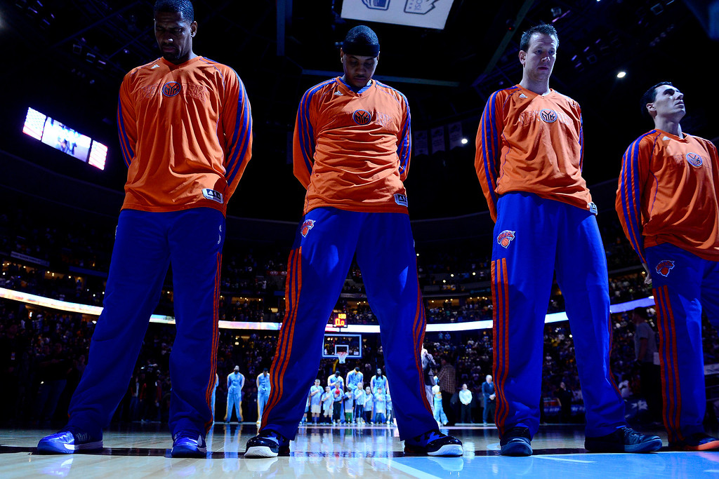 . DENVER, CO - MARCH 13: Carmelo Anthony (7) of the New York Knicks stands for the National Anthem during the first half of action. The Denver Nuggets play the New York Knicks at the Pepsi Center. (Photo by AAron Ontiveroz/The Denver Post)