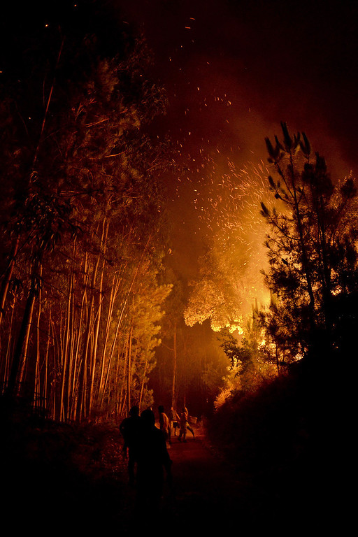 . Locals try to extinguish a wildfire approaching houses in Santiago de Besteiros, near Caramulo, central Portugal, early on August 30, 2013.  AFP PHOTO / PATRICIA DE MELO MOREIRA/AFP/Getty Images