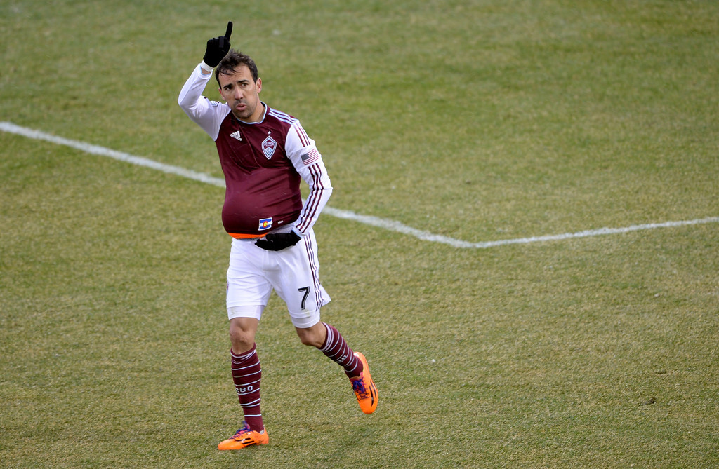 . COMMERCE CITY MARCH 22: Vincente Sanchez of Colorado Rapids (7) celebrates scoring goal from the free Kick in the 2nd half of the game against Portland Timbers at Dick\'s Sporting Goods Park. Commerce City, Colorado. March 22. 2014. Colorado won 2-0. (Photo by Hyoung Chang/The Denver Post)