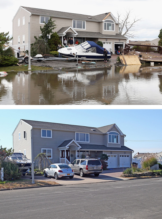 . LINDENHURST, NY - OCTOBER 31: (top) Residents of West Lido Boulevard take a break during cleanup operations following Hurricane Sandy on October 31, 2012 in Lindenhurst, New York. The storm has claimed many lives in the United States and has caused massive flooding across much of the Atlantic seaboard. LINDENHURST, NY - OCTOBER 22: (bottom) Cars sit parked in a driveway of a home on West Lido Boulevard October 22, 2013 in Lindenhurst, New York. Hurricane Sandy made landfall on October 29, 2012 near Brigantine, New Jersey and affected 24 states from Florida to Maine and cost the country an estimated $65 billion. (Photos by Bruce Bennett/Getty Images)