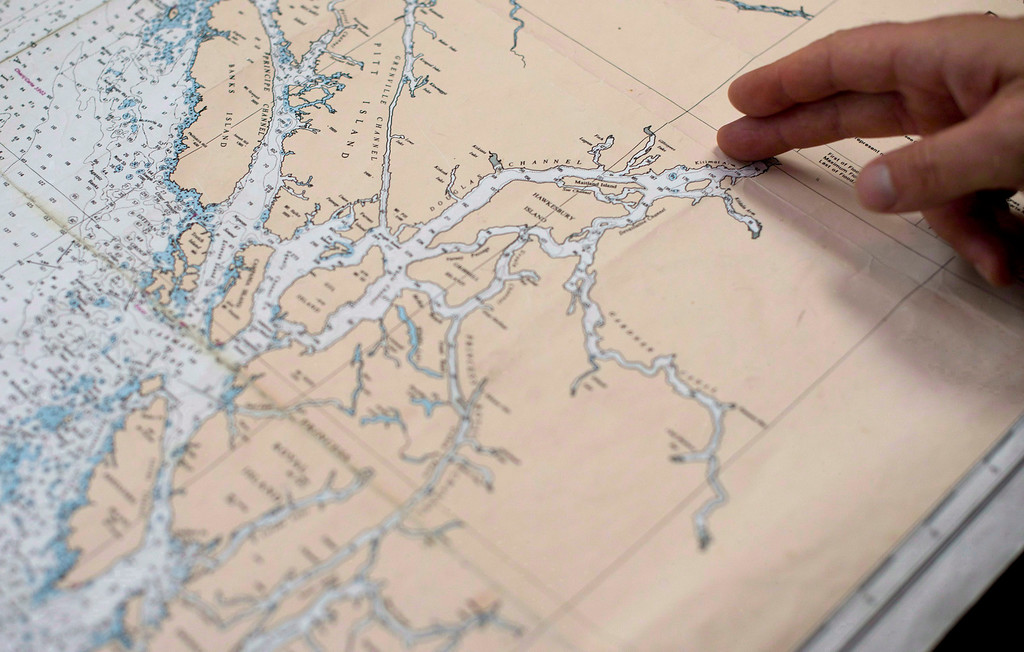 . The proposed tanker route leaving from Kitimat, B.C. is show on a map on Sept, 19, 2013.   (AP Photo/The Canadian Press, Jonathan Hayward)