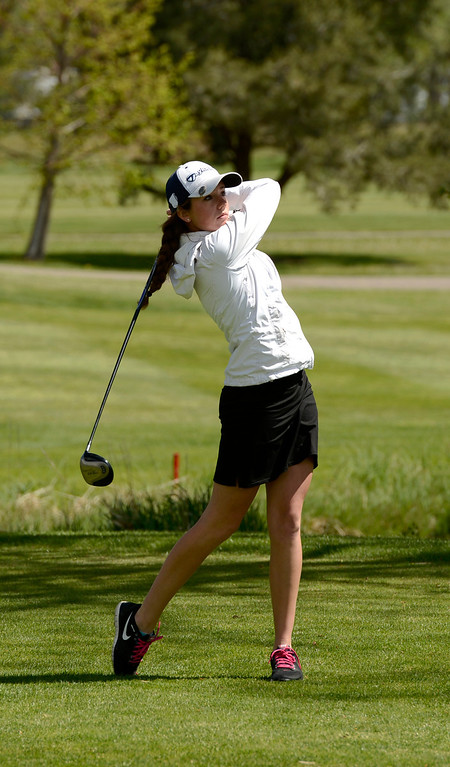 . Sara Coulter, of Eagle Valley High School, tees off of hole 12 during the first round of the Colorado State Girls 4A Golf Tournament at Broken Tee Golf Course in Englewood, May 20, 2013. (Photo By RJ Sangosti/The Denver Post)