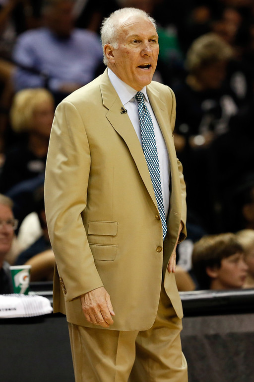 . Head coach Gregg Popovich of the San Antonio Spurs calls out in the first quarter while taking on the Miami Heat during Game Five of the 2013 NBA Finals at the AT&T Center on June 16, 2013 in San Antonio, Texas. (Photo by Kevin C. Cox/Getty Images)