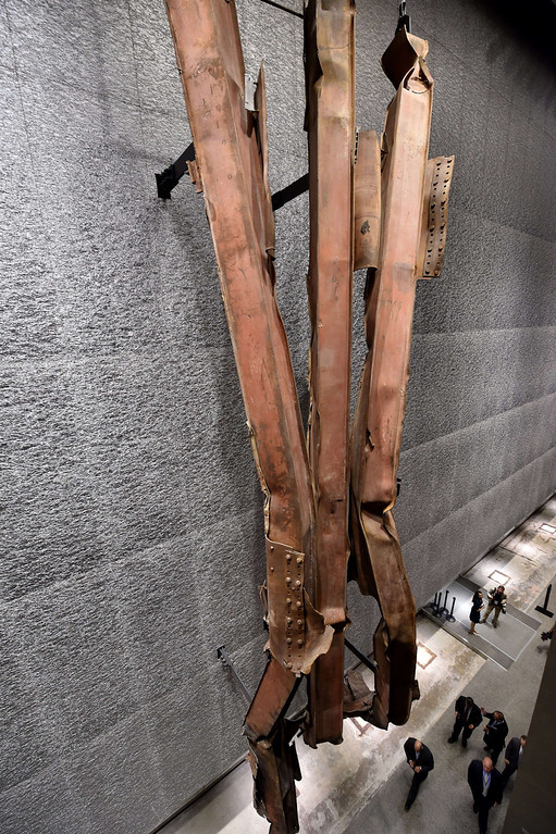 . A section of steel facade from the North Tower, floors 96 to 99, seen during a press preview of the National September 11 Memorial Museum at the World Trade Center site May 14, 2014 in New York. AFP PHOTO/Stan HONDA/AFP/Getty Images