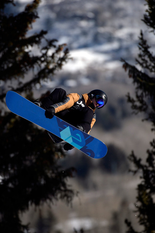 . Max Parrot rides during the men\'s snowboard slopestyle eliminator. X Games Aspen at Buttermilk on Thursday, January 23, 2014. (Photo by AAron Ontiveroz/The Denver Post)