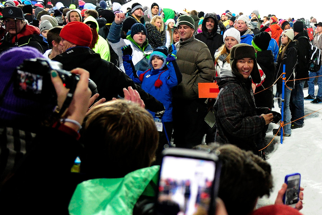 . ASPEN, CO. - JANUARY 26:  Ayumu Hirano, 14-years-old, looks back at fans after his second run during the men\'s snowboard superpipe finals. Hirano went on to win the silver medal. The 2013 Aspen X Games on Buttermilk Mountain on January 27, 2013. (Photo By Mahala Gaylord / The Denver Post)