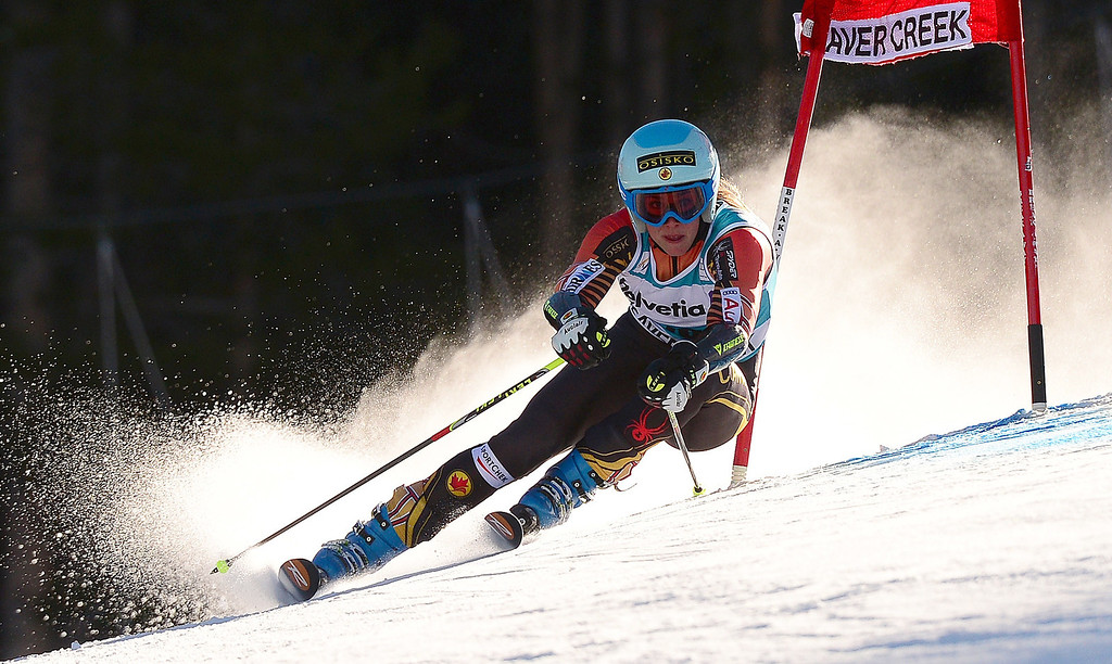. Canada\'s Marie-Michele Gagnon powers her way in the first run of the women\'s giant slalom at the FIS Ski World Cup in Beaver Creek, Colorado, December 1, 2013.   EMMANUEL DUNAND/AFP/Getty Images