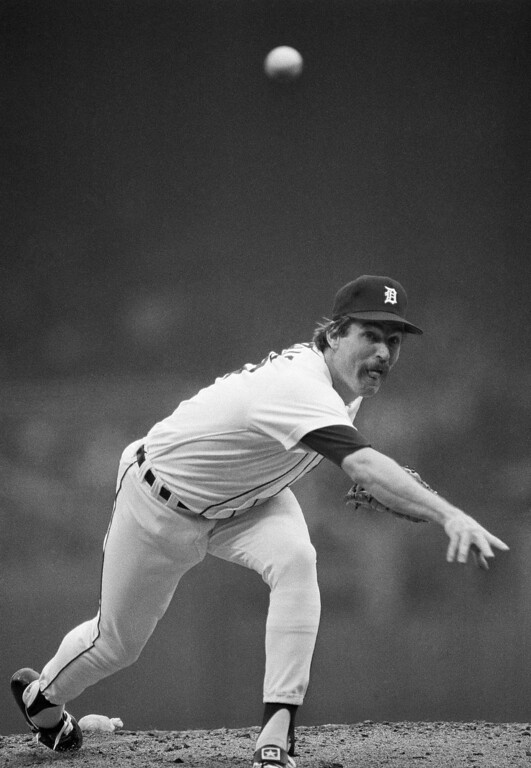 . JACK MORRIS -- Detroit\'s Jack Morris hurls to San Diego in the first inning of the fourth game of the World Series  on Oct. 13, 1984, at Tiger Stadium in Detroit. (AP Photo/Mark Duncan)