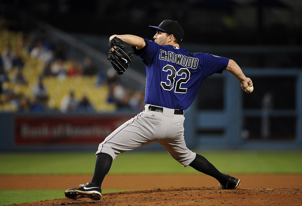 . Tyler Chatwood #32 of the Colorado Rockies pitches against the Los Angeles Dodgers at Dodger Stadium on April 29, 2013 in Los Angeles, California.  (Photo by Lisa Blumenfeld/Getty Images)