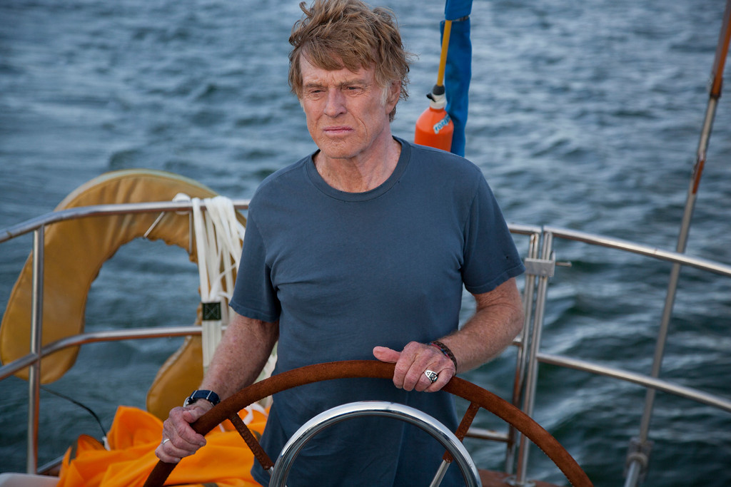 """. Robert Redford at the helm of the spare yet epic adventure \""""All Is Lost,\"""" directed by J.C. Chador. Photo Daniel Daza, Provided by Telluride Film Festival"""
