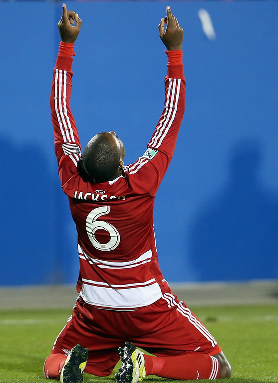 . FRISCO, TX - MARCH 02:  Jackson #6 of FC Dallas celebrates a goal against the Colorado Rapids at FC Dallas Stadium on March 2, 2013 in Frisco, Texas.  (Photo by Ronald Martinez/Getty Images)