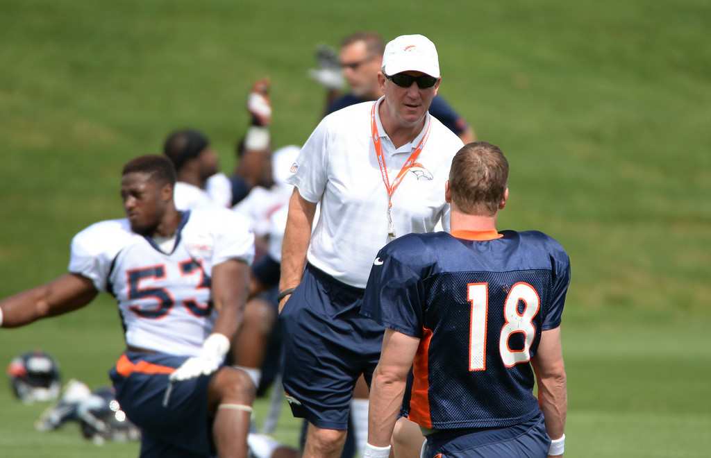 . Head Coach John Fox talking to Peyton Manning of Denver Broncos (18) during the Denver Broncos 2014 training camp at Dove Valley, Englewood, Colorado, August 01, 2014. (Photo by Hyoung Chang/The Denver Post)