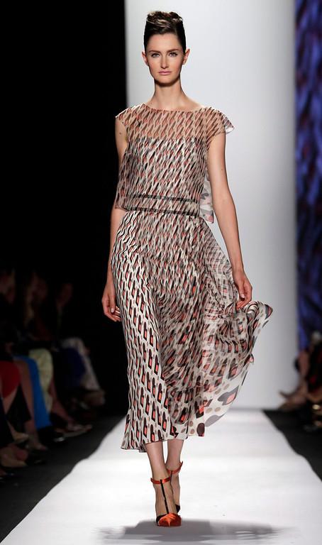 . The Carolina Herrera Spring 2014 collection is modeled during Fashion Week in New York,  Monday, Sept. 9, 2013. (AP Photo/Richard Drew)