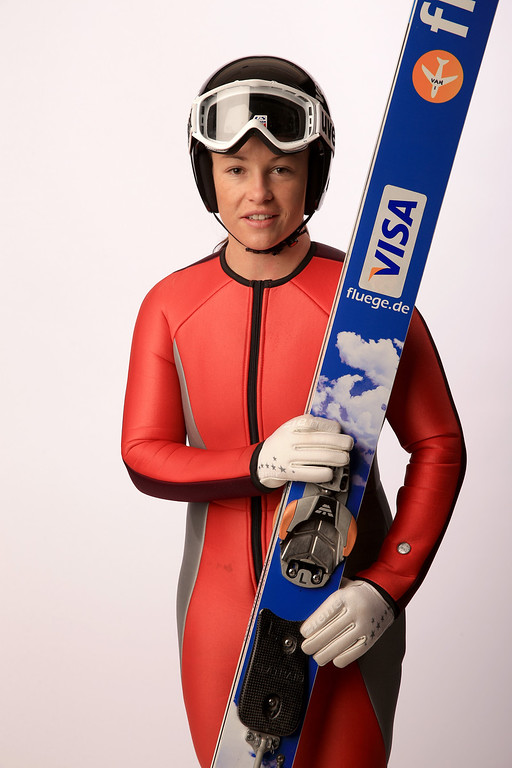 . Ski Jumper Lindsey Van poses for a portrait during the USOC Media Summit ahead of the Sochi 2014 Winter Olympics on October 1, 2013 in Park City, Utah.  (Photo by Doug Pensinger/Getty Images)