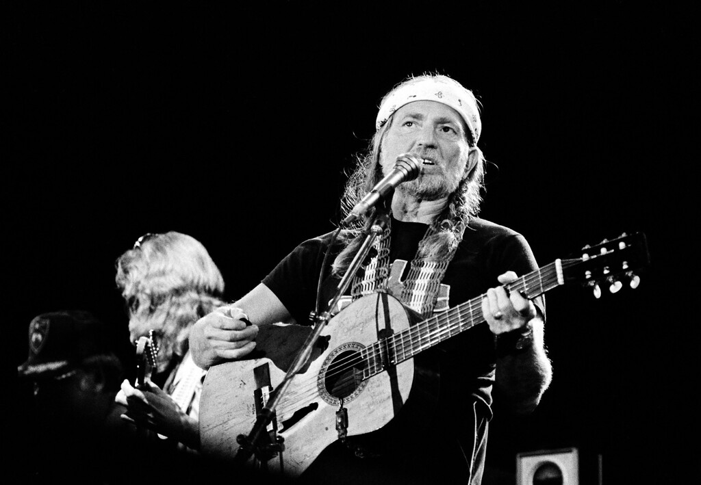 . Country singer Willie Nelson performs as the closing act at the US Festival in Devore, Ca., Saturday night, June 5, 1983.  (AP Photo/Michael Tweed)