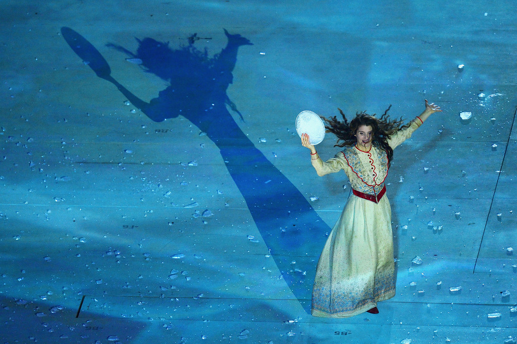 . Artists perform during the Opening Ceremony of the Sochi 2014 Paralympic Winter Games at Fisht Olympic Stadium on March 7, 2014 in Sochi, Russia.  (Photo by Dennis Grombkowski/Getty Images)