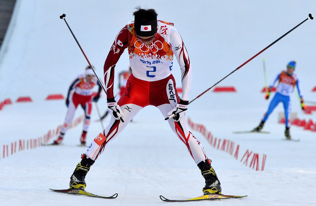 . Silver medalist Akito Watabe of Japan reacts after crossing the finish line during the 10km Cross Country portion of the Nordic Combined Individual competition at the Russki Gorki Center at the Sochi 2014 Olympic Games, Krasnaya Polyana, Russia, on February 12, 2014.  EPA/HENDRIK SCHMIDT