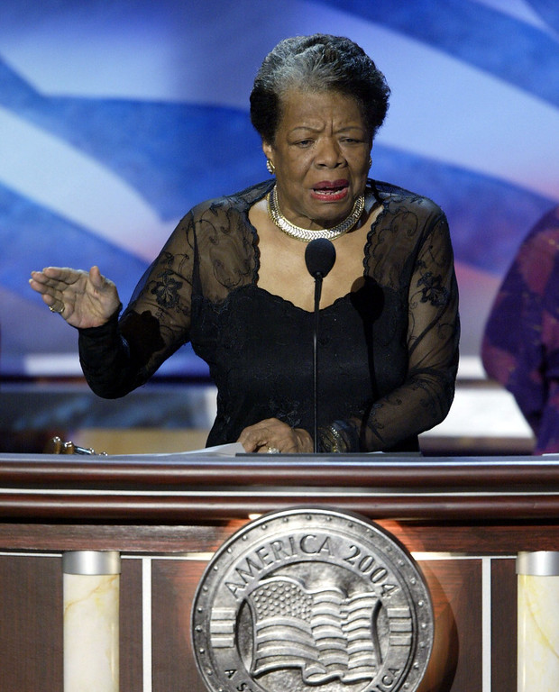 . In this July 27, 2004 file photo, Poet and activist Dr. Maya Angelou addresses the Democratic National Conventionin Boston, Massachusetts.Award-winning author, renowned poet and civil rights activist Dr. Maya Angelou has died. She was 86. AFP PHOTO / Paul J. RICHARDS /AFP/Getty Images