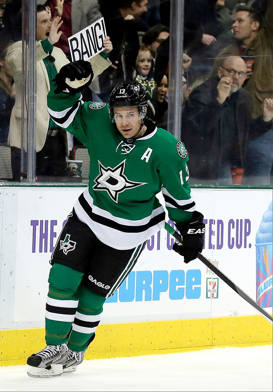 . Dallas Stars left wing Ray Whitney celebrates his goal against the Colorado Avalanche in the first period of an NHL hockey game, Tuesday, Dec. 17, 2013, in Dallas. (AP Photo/Tony Gutierrez)